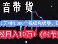 抖音带货:1人1天制作300个视频高级暴力玩法,轻松月入10万+(64节全)